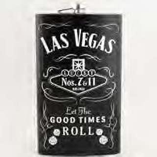 (4 8/18) Las Vegas Flask 7 & 11 Lucky Dice VERY LARGE 64 oz Flask BLACK With Las Vegas Magnet