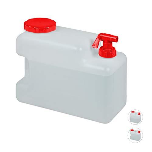 Relaxdays Wasserkanister mit Hahn, Schraubdeckel, Trinkwasserkanister Camping, 12 l, BPA-frei, Kunststoff, weiß-rot