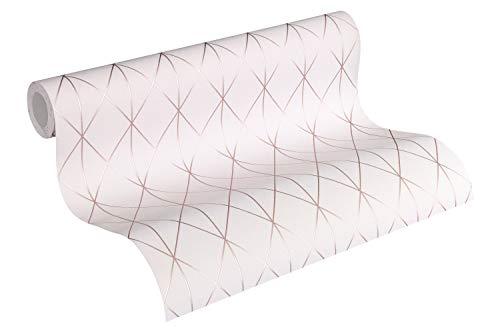 Designdschungel by Laura N. Vliestapete im skandinavischen Design matt glänzend 10,05 m x 0,53 m metallic rosa Made in Germany 365753 36575-3