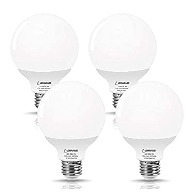 LOHAS LED G25 Globe Bulb 60W Equivalent, Bathroom Vanity Round LED Light Bulb 9W 800LM Warm White 2700K, E26 Base Make up Light, G25 Globe Light Bulbs Bathroom Kitchen for Decorative Light, 4 Pack
