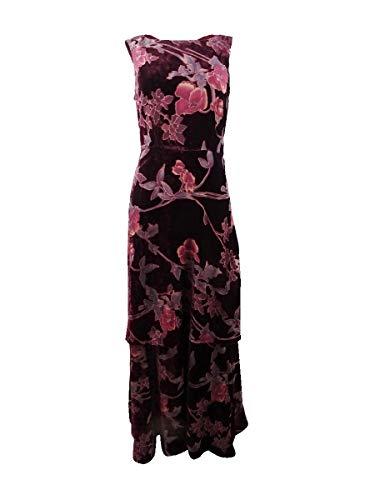 Tahari ASL Womens Velvet Floral Evening Dress Red 2