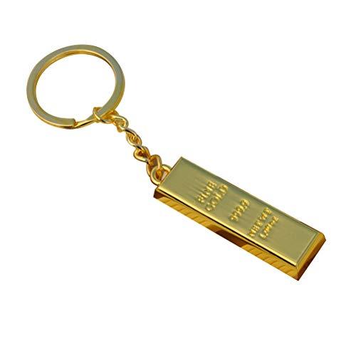 JQPFNPEI 1 Stück Imitation Goldbarren Schlüsselbund Charm Dekoration Coole Metall Geldbörse Tasche Anhänger Schlüsselanhänger Auto Schlüsselring Kreative Geschenk Party Favor