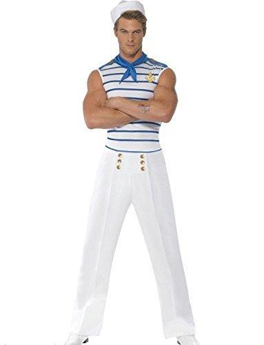 Adultes Hommes Français Sexy Bleu Marine Marin Militaire Uniforme Fever Costume déguisement - Blanc, Blanc, Medium (38-40\