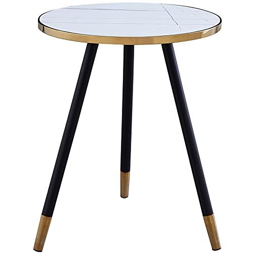 Urraca Mesa de centro redonda de 3 patas, mesa de pizarra sintética blanca, mesa de acento moderno para sala de estar (negro) (mesa final)