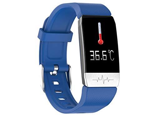 GGJJ ZHZZ T1 Temperaturmessung Smart-Armband, IP67 wasserdichte EKG Herzfrequenz Blutdruck und Sauerstoffüberwachung T1S Multi-Sport Smart-Erinnerung,Blau