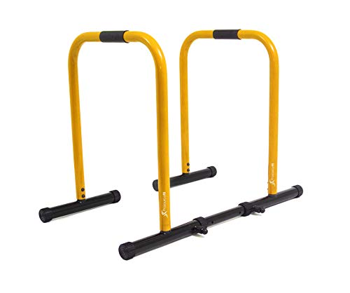 ProsourceFit Dip Stand Station, Heavy Duty Ultimate Body Press Bar with Safety Connector for Tricep Dips, Pull-Ups, Push-Ups, L-Sits, Yellow (ps-1066-ds-yellow)