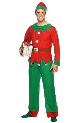 Smiffy'S 26025Xl Disfraz De Elfo Con Parte De Arriba, Pantalón Y Gorro, Rojo / Verde, Xl - Tamaño 46
