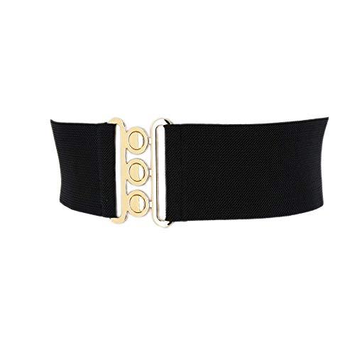 FASHIONGEN - Damen Breiter elastische gürtel, GLORIA, In Frankreich Hergestellt - Black (Golden buckle), Large / 40 bis 43