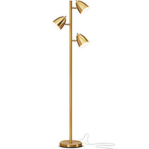 Lámpara de pie LED de lectura para sala de estar de mediados de siglo, moderna, 64 pulgadas, ajustable, 3 luces de árbol de latón antiguo, lámpara de pie alta, 3 bombillas LED incluidas, color dorado