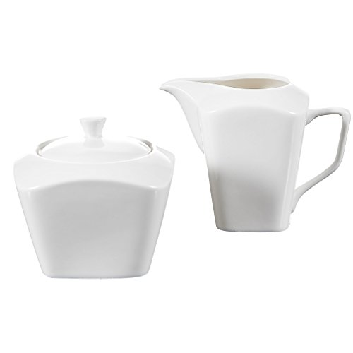 MALACASA, Serie Rosana, 3-teilig Cremeweiß Porzellan Milch und Zucker Set mit Deckel, Milchkännchen Zuckerdose Milch- & Zuckerbehälter Küchenhelfer