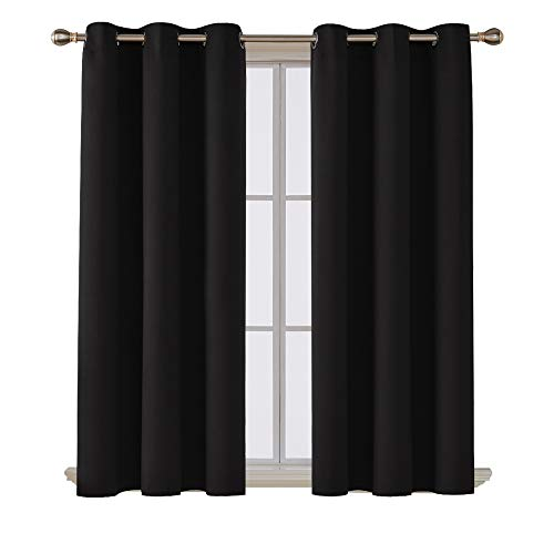 Deconovo Room Darkening Noise Reducing Thermal Insulated Grommet Black Blackout Curtains for Living Room 2 Curtain Panels Black 42x63 Inch