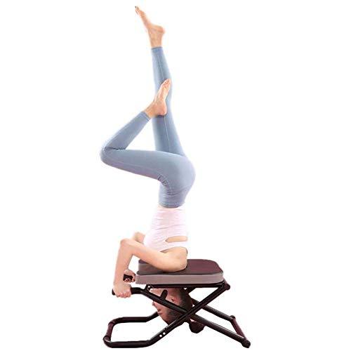 ZZAZXB Yoga Kopfstand Bank, Faltbarer Yoga Inversion Stand Stuhl Für Familien, Fitness Fitness Workout, Stahl Und PU Mat Meditationsbänke Für Familie Und Fitnessstudio,Schwarz