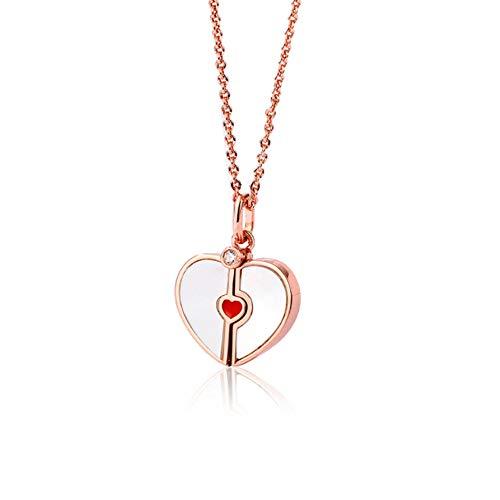 HXUJ Enviar a Las niñas Regalo del día a Pecho Rojo Collar de Oro 18K Colgante de Navidad/de San Valentín
