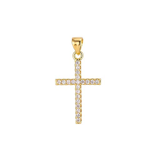 Jewelsmart Yellow Gold Plated 92.5 Starling Silver American Diamond Jesus Cross Religious Pendent Necklace With 18'' Silver Chain