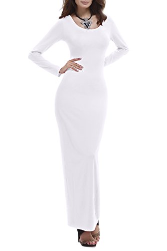 YMING Women's Long Sleeve Fall Dress Night Party Dress Casual Slim Dress White XL