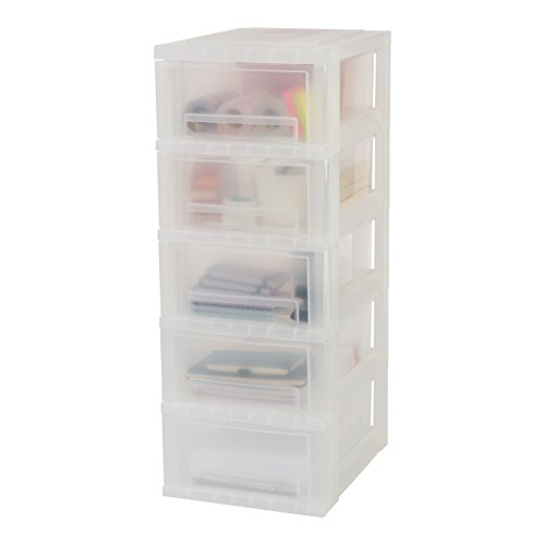 Iris Ohyama, Schubladenschrank auf Rollen / Rollwagen - Smart Drawer Chest SDC-005 - plastik, frostweiß, 5 x 11 L, L39 x B29 x H77 cm