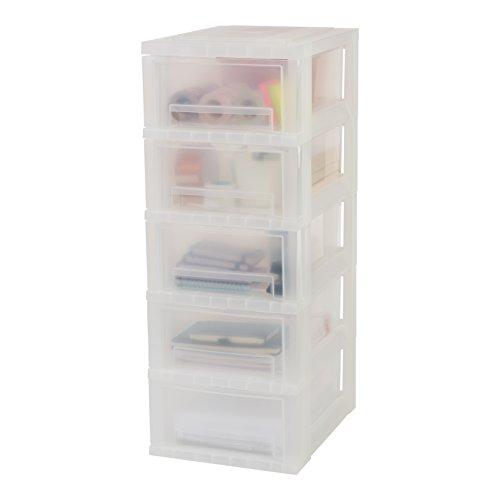 Iris Ohyama, torre memorizzazione su rotelle 5 cassetti - Smart Drawer Chest - SDC-005, plastica, bianco / trasparente, 55 L, 29 x 39 x 70 cm