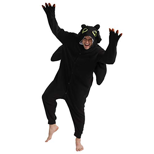 dressfan Tier Drache Kostüm Drache Jumpsuits Drache Pyjamas Cosplay Kostüm Weihnachten Halloween Schlafanzug für Unisex Erwachsene Jugendliche Kinder Schwarz M