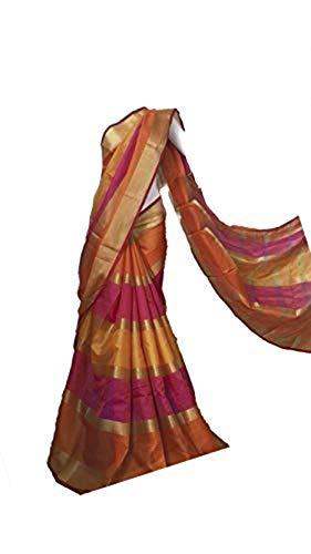 Indian Bollywood Wedding Saree indisch Ethnic Hochzeit Sari New Kleid Damen Casual Tuch Birthday Crop top mädchen Cotton Silk Women Plain Traditional Party wear Readymade Kostüm (orange)