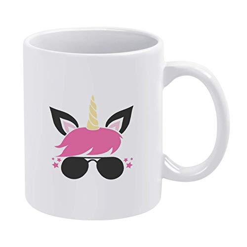 N\A Unicornio Rosa con Vasos Taza de café Taza, Taza de cerámica Taza de Bebida de té para el hogar y la Oficina, cumpleaños, Aniversario, Halloween, Navidad, Día de San Valentín Idea de Regalo.