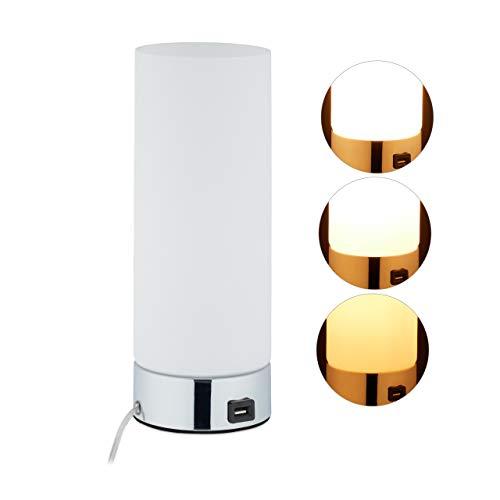 Relaxdays Dimmbare Nachttischlampe, Runde Tischlampe mit Ladefunktion, USB, Touchfunktion, Nachtlicht HxD 29x11 cm, weiß