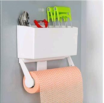 Adhesivo Portarrollos de Cocina con Estante Soportes de pared Organizador Plastico - Sin Perforar