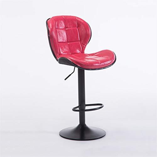 ZUOANCHEN Barhocker Moderne Verstellbare Hocker Aus PU-Leder Mit Rückenlehne Höhe Geometrischer Stereo-Lounge-Sessel Drehhocker (Farbe : Red)