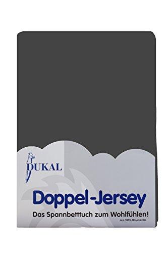 Dukal, Topper Spannbettlaken, max. Höhe 10 cm, 180-200 x 200 cm, aus hochwertigem DOPPEL-Jersey (100% Baumwolle), Farbe: anthrazit
