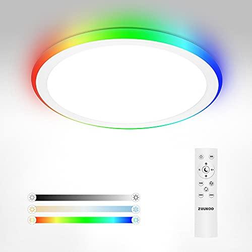 ZUUKOO LIGHT Plafones para Techo Regulable RGB 24W, Lamparas de Techocon Mando a Distáncia, Color de Luz y Brillo Ajustables, 2000lm Luz LED Techo, Plafon LED Techo para Baño, Dormitorio, Pasillo