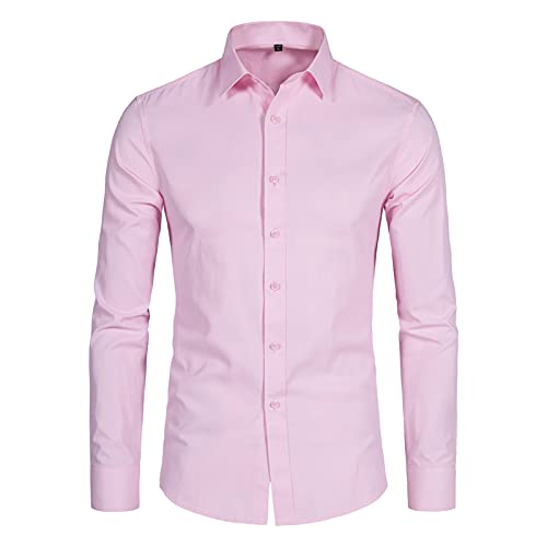 DELCARINO Men's Long Sleeve Button Up Shirts Solid Slim Fit