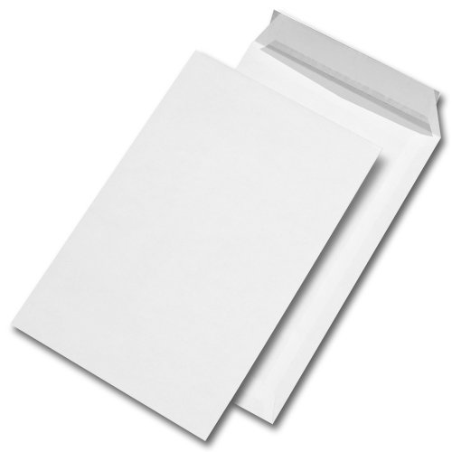 25 Stk. Versandtaschen C4 weiß, ohne Fenster, haftklebend mit Abdeckstreifen (229 x 324 mm)