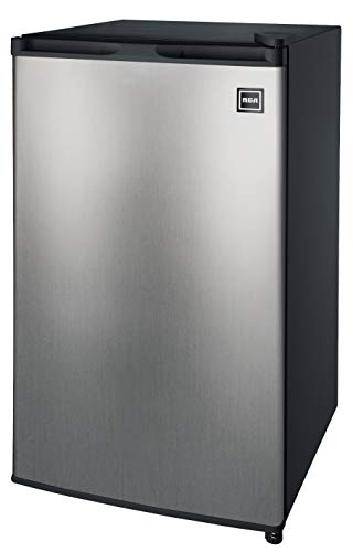 RCA RFR322 Single Door Mini Fridge with Freezer, 3.2 Cu. Ft. capacity - Stainless Steel