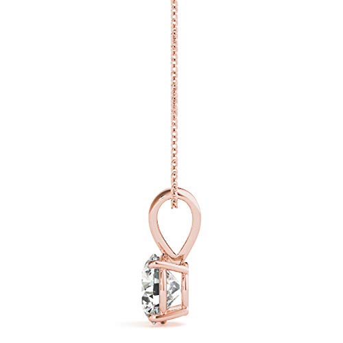 """Diamond Solitaire Pendant set in 14K White, Yellow or Rose Gold with Natural Round Cut Diamond for Women, Girls & Teen comes with 18"""" silver chain. Free Designer Gift Box. Free Certificate."""