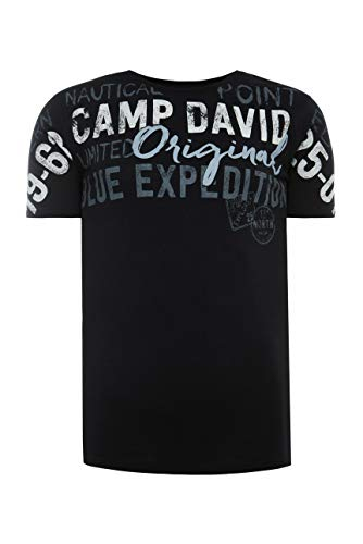 Camp David Herren T-Shirt mit Logo Artwork in Used-Optik, Black, L