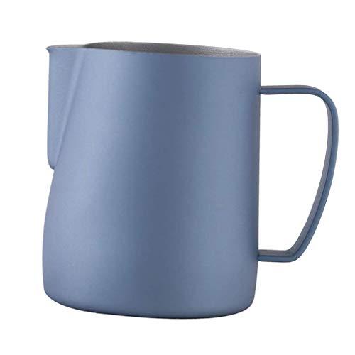 Milchaufschäum-Krug aus Edelstahl, 350 ml, perfekt für Espressomaschinen, Milchaufschäumer, 75 x 75 x 90 mm, bunt, 75 x 75 mm hellblau