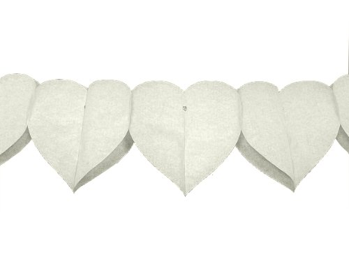 Papiergirlande Herzen creme, 4 m x 8,5 cm, 2 Stück, Herzgirlande Hochzeit Valentin
