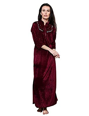 Grand Bear Women's Velvet Embroidered Night Wear Dress/ Nighty (Wine, Free Size)