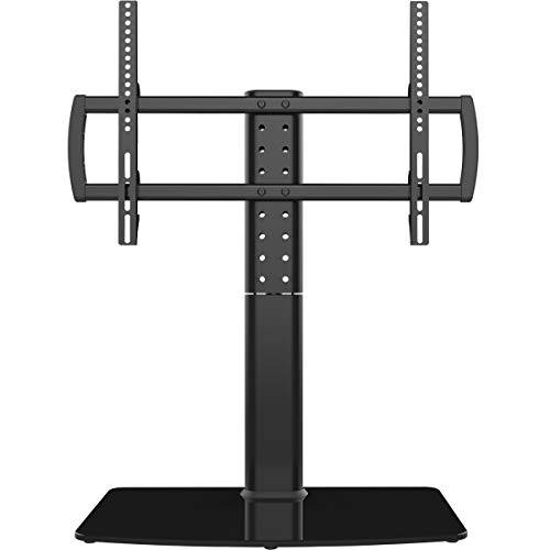 Universal Swivel TV Stand/Base Table Top TV Stand 40 to 80 inch TVs 110 Degree Swivel, 5 Level Height Adjustable, Heavy Duty Tempered Glass Base, Holds up to 132lbs Screens, HT04B-003