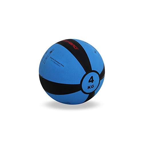 TrainHard Medizinball 1kg bis 12 kg, Gummi Gewichtsball in 10 Farbig, Professionelle Gymnastikball für Krafttraining, Crossfit und Fitness (4 KG - Blau)