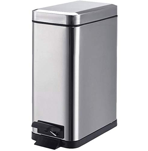 1.3 Gallon- Rectangular Small Steel Step Trash Can Wastebasket,Stainless Steel Bathroom Slim Profile Trash Can,5 Liter Garbage...
