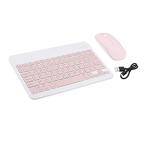 H HILABEE Teclado y ratón inalámbrico Bluetooth Compacto X5 Combo español para Escritorio - Rosa