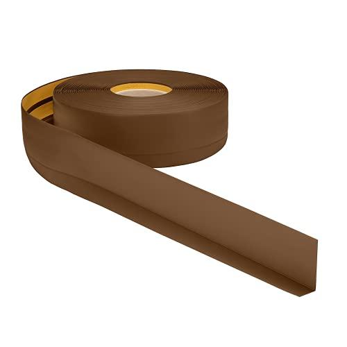 Weichsockelleiste PVC 50x20mm - 1 Meter, selbstklebend Eckleiste, flexible Bodenleiste, Premium Weich Sockelleiste (Braun)