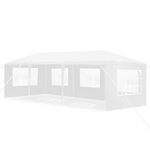 Aufun Pavillon Wasserdicht 3x9 m Weiß Gartenpavillon mit 5 Seitenwände Polyethylen Bierzelt Tür mit Reisverschluss für Garten Party Hochzeit Picknick Markt