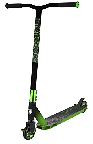 Mongoose Rise 100 Pro Youth and Adult Freestyle Kick Scooter, High Impact 110mm Wheels, Bike-Style Grips, Lightweight Alloy Deck, Black/Green