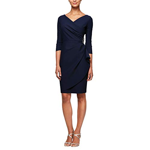 Alex Evenings Women's Slimming Short Sheath 3/4 Sleeve Dress with Surplus Neckline, Navy, 14