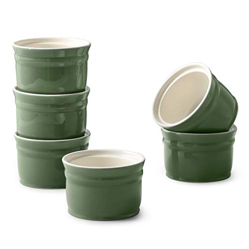DOWAN Ramekins, Porcelain Ramekins 8 oz Oven Safe, Set of 6 Ramekins for Creme Brulee, Souffle Dishes Custard Cups Dessert Small Bowls for Pudding, Ramekins for Baking