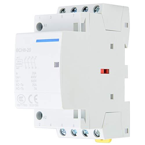 Contactor de CA YWBL-WH, montaje de riel DIN de contactor de CA 4P 20A 2NO 2NC 24V 220V / 230V(220V/230V)