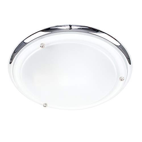 Plafoniera IP44 flush, moderna e rotonda con finitura cromata lucida di colore argento e con paralume di vetro satinato - per il bagno