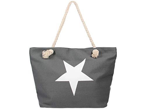 Alsino Damen Shopper Beach Bag Einkaufstasche Strandtasche - Größe: ca. 55 x 38 cm - Maritim mit Reißverschluss und Henkel, Stern Grau (TT-m31)