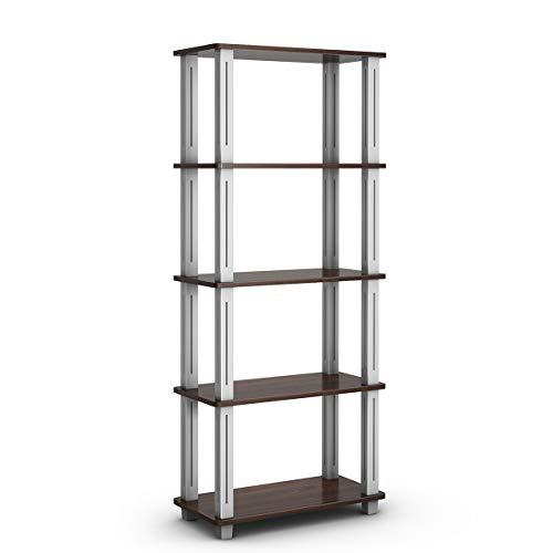 Tangkula 57 Storage Shelves Space-Saving 5-Tier Storage Rack Organizer Multi-Use Shelving Unit for HomeOfficeDormitoryGarageWarehouse Walnut